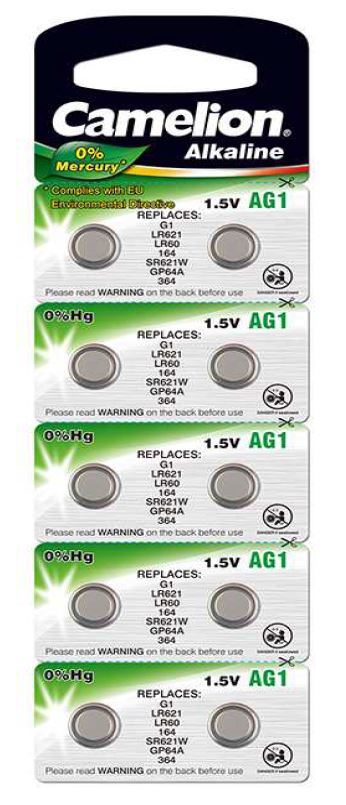 Pila Botón Alcalina LR60 1.5V 0% Mercurio (10 pcs) Camelion