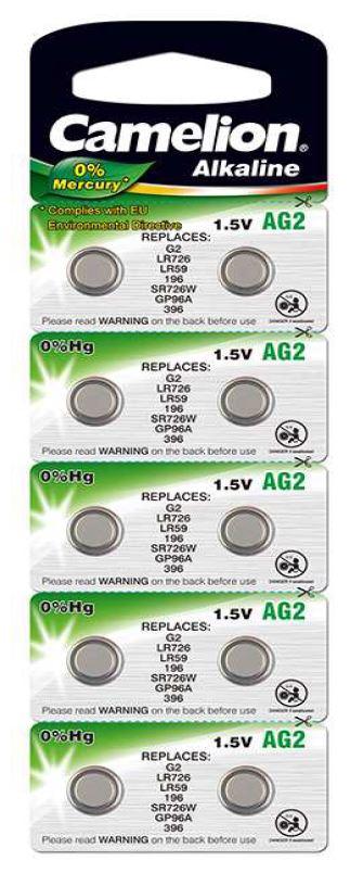 Pila Botón Alcalina LR59 1.5V 0% Mercurio (10 pcs) Camelion