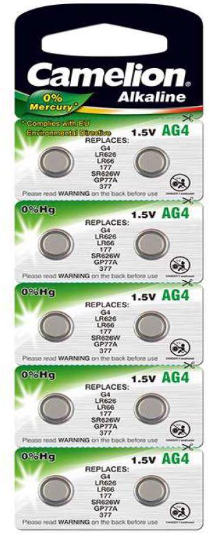 Pila Botón Alcalina LR66 1.5V 0% Mercurio (10 pcs) Camelion