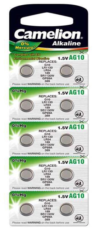 Pila Botón Alcalina LR54 1.5V 0% Mercurio (10 pcs) Camelion