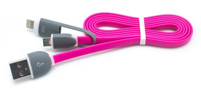 Cable Plano USB a Micro USB + Lightning Fucsia