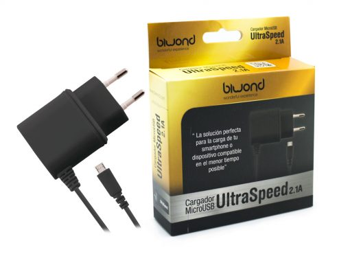 Cargador Micro USB UltraSpeed 2.1A Negro Biwond