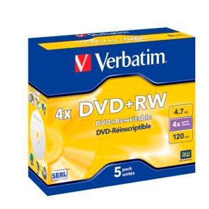 DVD+RW 4x Verbatim Caja Jewel 5 unds
