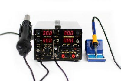 Estación soldadura SMD aire caliente y Fuente alimentación 5A YI