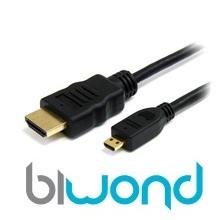 MICRO HDMI A HDMI 1M BIWOND V1.4 (ALTA VELOCIDAD / HEC)