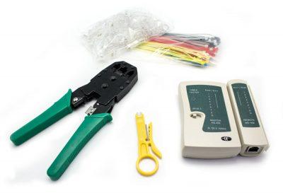 Kit Crimpadora+Tester Lan+Pelacables+100 RJ45+100 Bridas BIWOND