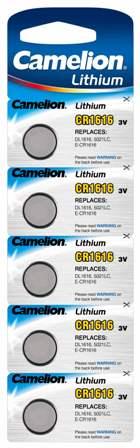 Boton Litio CR1616 3V (5 pcs) Camelion