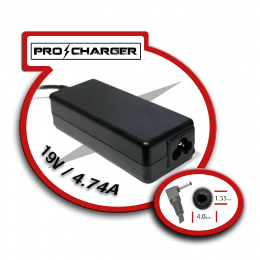 Carg. Ultrabook 19V/4.74A 4.0mm x 1.35mm 90w Pro Charger