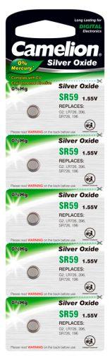 Boton Oxido plata SR59W 1.55V 0% Mercurio (5 pcs) Camelion